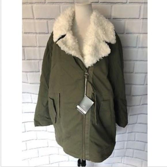 Gap Faux Fur Lined Parka New Army Green Coat NWT
